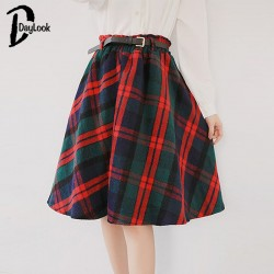 Daylook-2015-Autumn-Women-Scottish-Plaid-skirt-Elastic-Hight-Waist-Skater-pleated-Skirt-Knee-Length-Casual-1