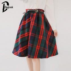Daylook-2015-Autumn-Women-Scottish-Plaid-skirt-Elastic-Hight-Waist-Skater-pleated-Skirt-Knee-Length-Casual-1