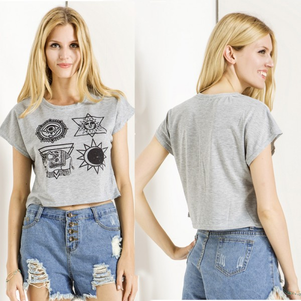 Daylook-Summer-New-Totem-Print-Short-Sleeve-t-shirt-women-Casual-Round-Neck-Crop-Top-Harajuku-1