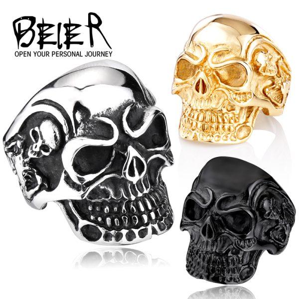 Drop-Ship-2015-Fashion-Ring-Stainless-Steel-Rings-For-Man-Big-Tripple-Skull-Ring-Punk-Biker-1