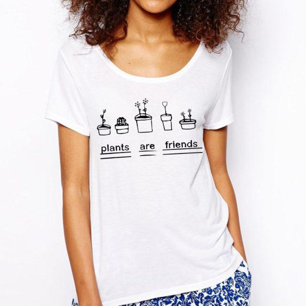Euro-Size-Plants-Are-Friends-T-Shirts-Women-Scoop-Neck-Short-Sleeve-Woman-T-Shirt-Cotton-1