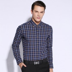 Fall-2015-New-Men-s-Shirt-Fashion-Plaid-Long-sleeve-Square-Collar-Button-Down-100-Cotton-1
