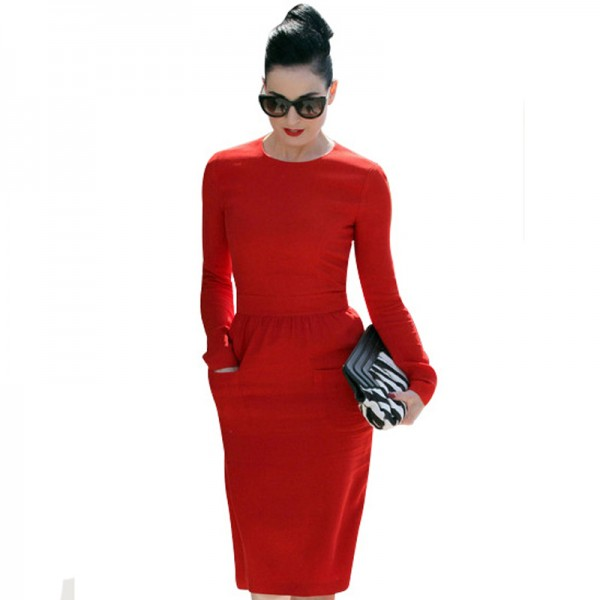 Fashion-Women-Red-Cotton-Celebrity-Vintage-Shift-Sheath-Wear-to-Work-Party-Pencil-Midi-Dress-D456-1