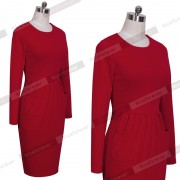 Fashion-Women-Red-Cotton-Celebrity-Vintage-Shift-Sheath-Wear-to-Work-Party-Pencil-Midi-Dress-D456-4