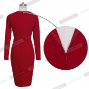 Fashion-Women-Red-Cotton-Celebrity-Vintage-Shift-Sheath-Wear-to-Work-Party-Pencil-Midi-Dress-D456-5