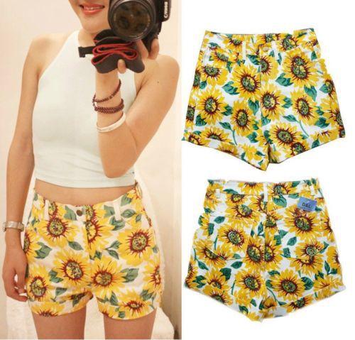 Fashion-Womens-Summer-Casual-SUNFLOWER-Print-High-Waist-HOT-Shorts-1-1