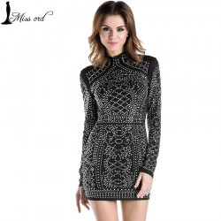 Free-Shipping-2015-Sexy-Geometric-retro-Rhinestone-high-necked-long-sleeved-bodycon-tight-dress-party-dress-1