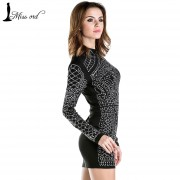 Free-Shipping-2015-Sexy-Geometric-retro-Rhinestone-high-necked-long-sleeved-bodycon-tight-dress-party-dress-2