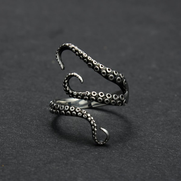 Free-Shipping-gift-Bag-Wholesale-Titanium-steel-Gothic-Deep-sea-Octopus-finger-ring-fashion-jewelry-opened-1