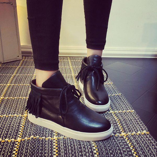 Free-shipping-fashion-trendy-casual-women-s-shoes-lace-up-High-Top-macrame-decoration-PU-flat-1