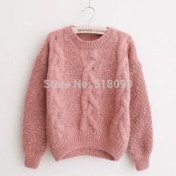 Freeshipping-2015-NEW-Fashion-Short-Pullover-Women-Sweater-Women-Vintage-Twist-Long-sleeve-O-Neck-Short-1