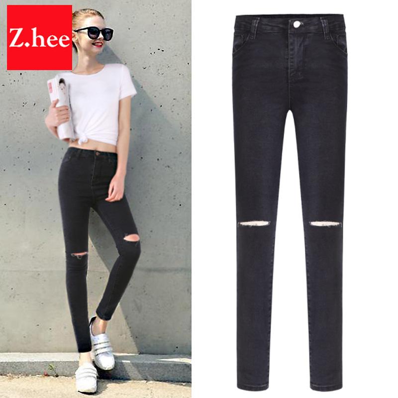 fb439f230db Высокая талия черные рваные джинсы купить на AliExpress на русском