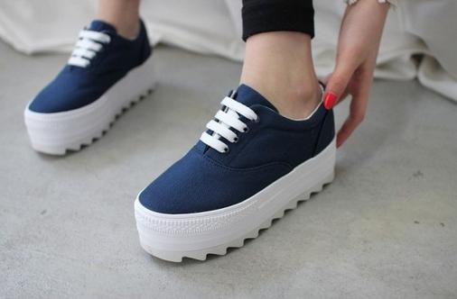 Low-platform-canvas-shoes-spring-casual-lacing-platform-shoes-elevator-shoes-women-s-solid-color-1