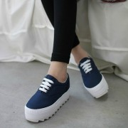 Low-platform-canvas-shoes-spring-casual-lacing-platform-shoes-elevator-shoes-women-s-solid-color-4