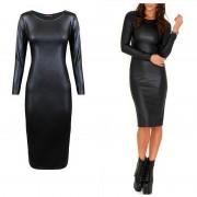 M-XXL-NEW-2016-Women-Long-Sleeve-Party-Dress-Leather-Look-Bodycon-Dress-Sexy-Club-Dress-2