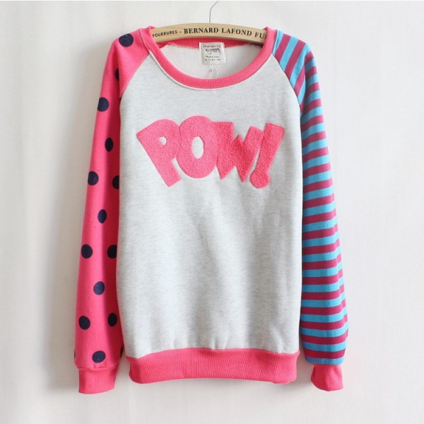 Magic-Pow-flocking-letters-fleece-inside-sweatshirts-big-dot-and-stripe-sleeve-nice-design-women-1