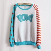 Magic-Pow-flocking-letters-fleece-inside-sweatshirts-big-dot-and-stripe-sleeve-nice-design-women-2