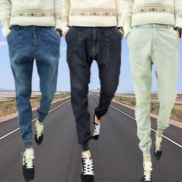 Mens-New-Stylish-Hip-hop-Harem-Blue-Black-Grey-Denim-Beam-Pants-Size-S-to-2XL-1