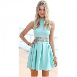 New-Arrival-Desigual-Sleeveless-Turtleneck-Lace-Stitching-Mint-women-dress-Cute-Party-summer-dress-Casual-Slim-1