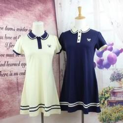 New-Arrival-Navy-Cute-Sailor-A-line-Full-Puff-Sleeve-Natural-Peter-Pan-Collar-Dress-Knee-1