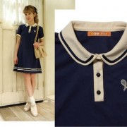 New-Arrival-Navy-Cute-Sailor-A-line-Full-Puff-Sleeve-Natural-Peter-Pan-Collar-Dress-Knee-3