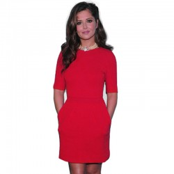 New-Autumn-red-fashion-Sexy-Women-Simple-casual-Solid-half-Sleeve-Zipper-Back-Elegant-Bodycon-club-1