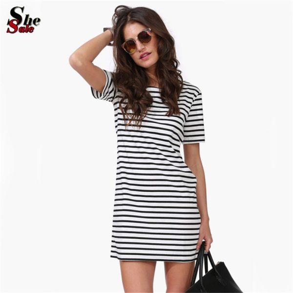 New-Designer-Hot-Sale-Women-Round-Neck-Fashion-Black-and-White-Striped-Short-Sleeve-Straight-Short-1