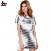 New-Designer-Hot-Sale-Women-Round-Neck-Fashion-Black-and-White-Striped-Short-Sleeve-Straight-Short-2