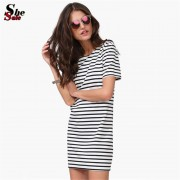New-Designer-Hot-Sale-Women-Round-Neck-Fashion-Black-and-White-Striped-Short-Sleeve-Straight-Short-3