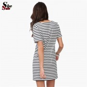 New-Designer-Hot-Sale-Women-Round-Neck-Fashion-Black-and-White-Striped-Short-Sleeve-Straight-Short-4