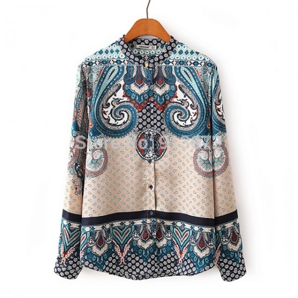 New-Ladies-Elegant-Paisley-Pattern-Print-4-Colors-Blouse-Vintage-Stand-Collar-Long-Sleeve-Brief-Shirts-1