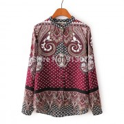 New-Ladies-Elegant-Paisley-Pattern-Print-4-Colors-Blouse-Vintage-Stand-Collar-Long-Sleeve-Brief-Shirts-2