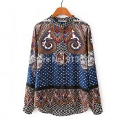 New-Ladies-Elegant-Paisley-Pattern-Print-4-Colors-Blouse-Vintage-Stand-Collar-Long-Sleeve-Brief-Shirts-3