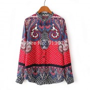 New-Ladies-Elegant-Paisley-Pattern-Print-4-Colors-Blouse-Vintage-Stand-Collar-Long-Sleeve-Brief-Shirts-5