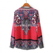 New-Ladies-Elegant-Paisley-Pattern-Print-4-Colors-Blouse-Vintage-Stand-Collar-Long-Sleeve-Brief-Shirts-6