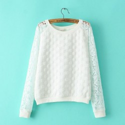 New-Women-Autumn-Casual-Lace-Sweatshirts-Round-Dot-Embossed-Tracksuit-Long-Sleeve-Ladies-Lace-Tops-EF80-1