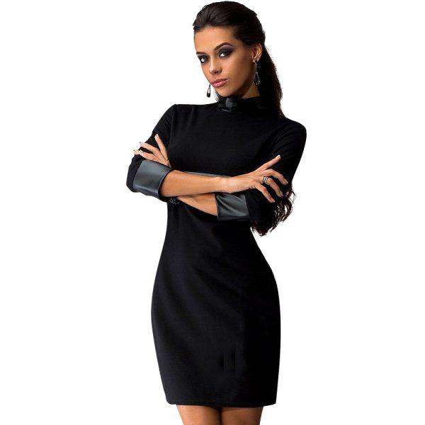 New-Women-Sexy-Mini-Dress-Women-PU-Patchwork-Long-Sleeve-Pockets-Wear-To-Club-Party-Sheath-1