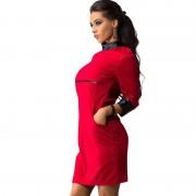 New-Women-Sexy-Mini-Dress-Women-PU-Patchwork-Long-Sleeve-Pockets-Wear-To-Club-Party-Sheath-5