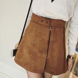 New-Women-Skirt-Autumn-Winter-Faldas-Fashion-Zipper-Button-Solid-A-Word-Skirts-3-Colors-High-1