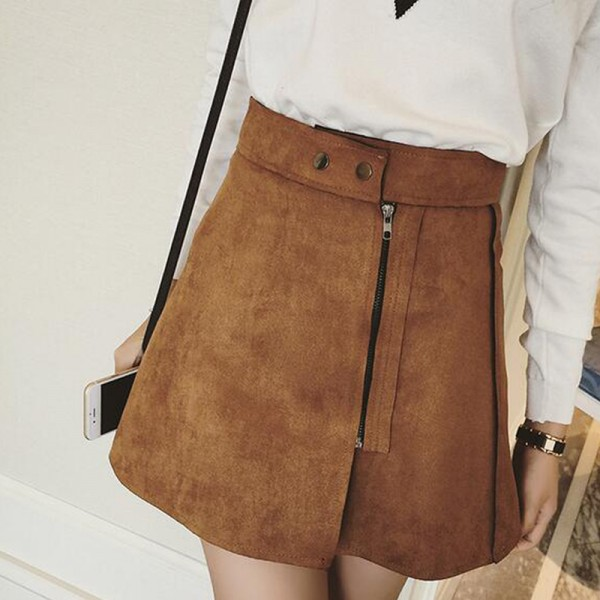 New-Women-Skirt-Autumn-Winter-Faldas-Fashion-Zipper-Button-Solid-A-Word-Skirts-3-Colors-High-1