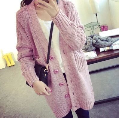 New-fashion-princess-ladies-cardigans-pink-long-sweater-women-with-big-button-blue-grey-V-neck-1