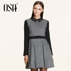 OSA-2015-New-Arrivals-Women-Empire-Dress-Turn-down-Beading-Collar-Patchwork-Casual-Vestidos-Female-Hit-1