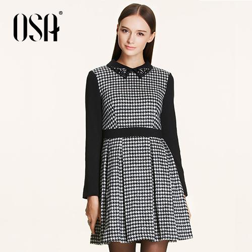 OSA-2015-New-Arrivals-Women-Empire-Dress-Turn-down-Beading-Collar-Patchwork-Casual-Vestidos-Female-Hit-1