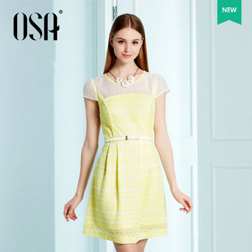 OSA-Summer-2015-Pleated-casual-Chiffon-dresses-women-Spring-new-arrivals-Sleeve-style-O-neck-Mini-1