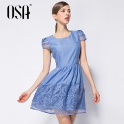 OSA-Summer-2015-slim-lace-embroidered-dresses-women-Spring-new-arrivals-Sleeve-O-neck-blue-colors-4