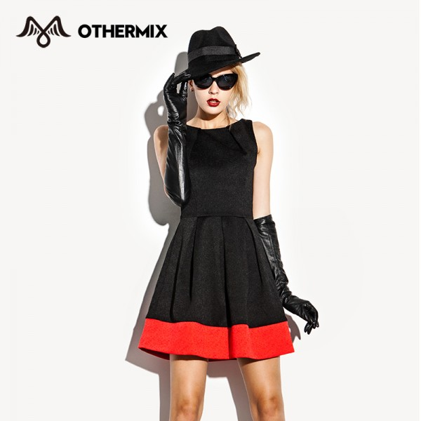 Othermix-fashion-neckline-pleated-sweep-basic-colorant-match-sleeveless-one-piece-dress-4MB4331V-1