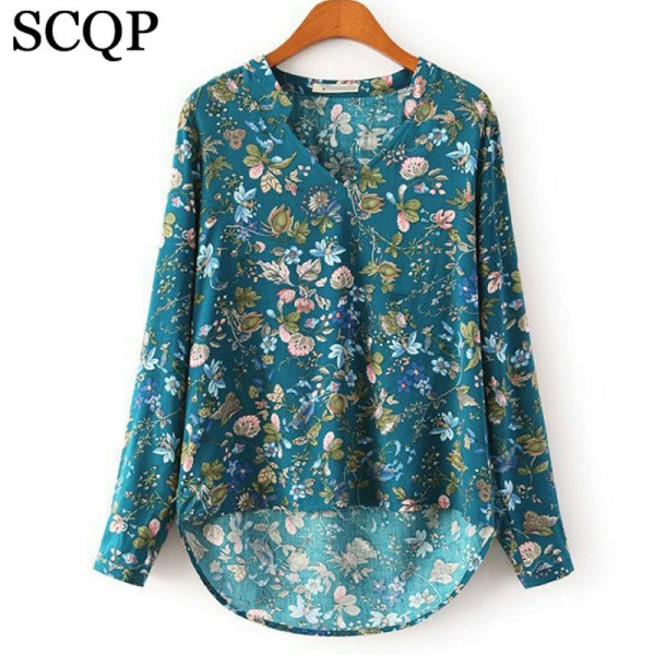 Promotion-Women-Blouses-Vintage-Floral-Print-Auntumn-Blusas-Femininas-V-Neck-Long-Sleeve-Woman-Shirts-Casual-1
