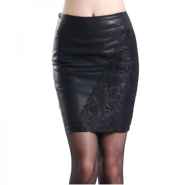 S-4XL-New-2016-Woman-Autumn-Winter-Embroidery-lace-PU-leather-skirts-plus-size-water-washed-1