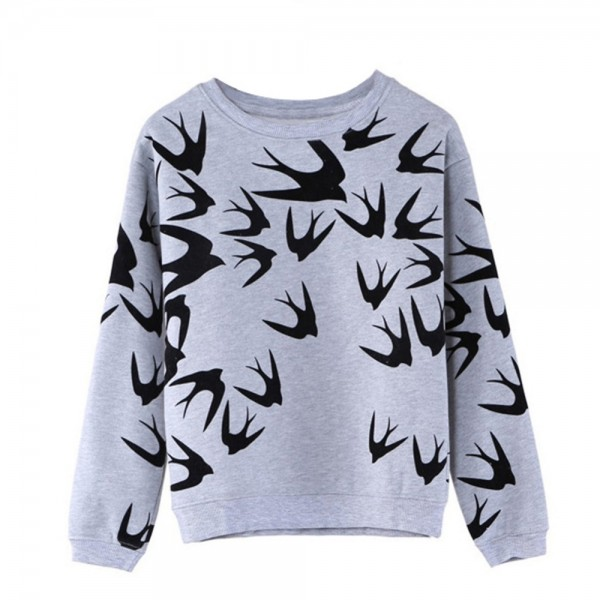 Spring-Autumn-Women-Casual-Grey-Crewneck-Sweatshirts-Long-Sleeve-3D-Swallow-Pullover-Free-Shipping-1