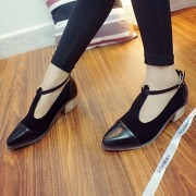 Spring-Fashion-Genuine-Leather-cow-leather-T-tied-Patch-Frework-Pointed-Toe-Med-Heel-Shoes-Sweet-2